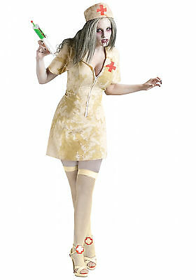 Adult Zombie Dirty Nurse with Syringe fancy dress costume Halloween, Small