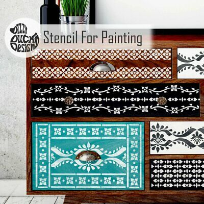 SATARA Indian Inlay Stencils Pack of 5 Furniture Wall Floor Stencil for Painting
