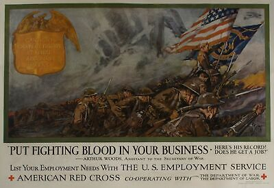 c1917 Put Fighting Blood in Your Business Red Cross War Poster Dan Smith USA WWI