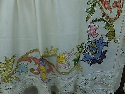 Antique Hand Embroidered Linen Tablecloth Victorian Lace Border Cover Embroidery