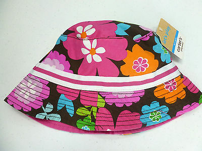 Carter's Girls Sun Hat Flowers Pink/Brown Size 4-6x NEW NWT
