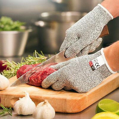 Kitchen Safety Cut Proof Stab Resistant Elastic Fiber Mesh Butcher Gloves M-L UK