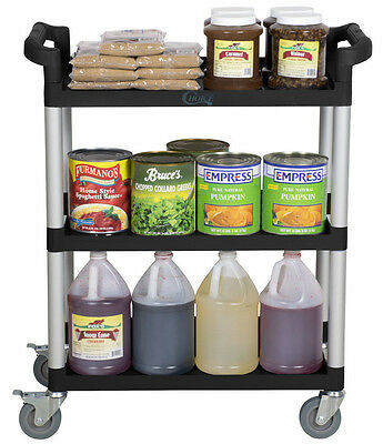 "32"" x 16"" x 38"" Black Plastic 3 Shelf Restaurant Utility Commercial Bus Cart"