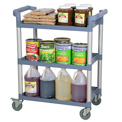 "NEW 32"" x 16"" x 38"" Gray Plastic 3 Shelf Restaurant Utility Commercial Bus Cart"