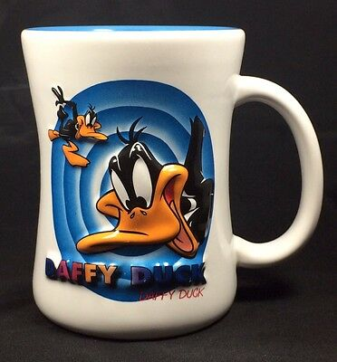 Daffy Duck Collectible Six Flags Coffee Mug Raised 3D Texture White Blue Large