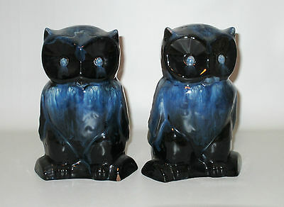 Owl Bookends Cobalt Blue White Drip Retro 1970s CCC Rainbow Pottery Canada