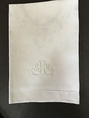 "Set 10 French Damask Dinner Napkins Appx 24x24"" White Linen E84"