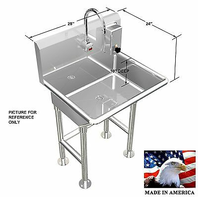 "Hand Wash Sink Single Station 28"" Electronic Faucet Free Standing Made In Usa"