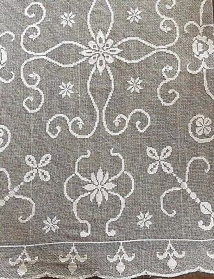 "Antique French Handmade Lace Tablecloth 86"" X 65""  ~ Free Shipping"