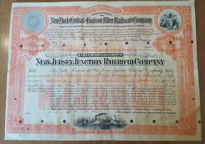 New Jersey Junction Railroad Company Bond Stock Certificate N.Y Central Hudson