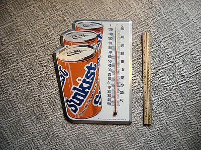 Vintage Sunkist Soda Thermometer Metal Sign - 1980's