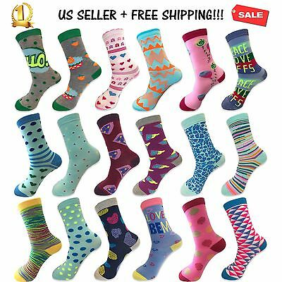 New Lot of 12 Pairs Women Dress Socks Casual Crew Stretch Socks Multi-Color 9-11