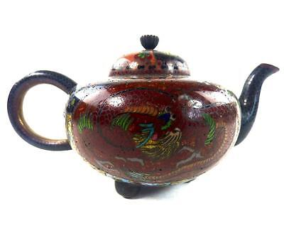 Antique Japanese Meiji Cloisonne Teapot Pheonix & Dragon