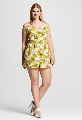 f570d1973c4 NEW Women s Plus Size Renn Sleeveless Floral Print Romper White Yellow size  1X