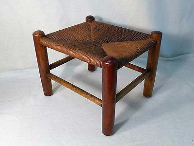 Rush Foot Stool Antique Small Farm House Woven Ottoman Solid Wood Legs Vintage