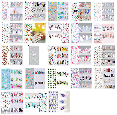 Nail Art Feathers Flowers Butterflies Water Transfer Decal Stickers, UK Seller