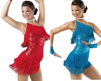 Dance Costume Large Child Blue XXL Adult Red Fringe Jazz Tap Solo Competition