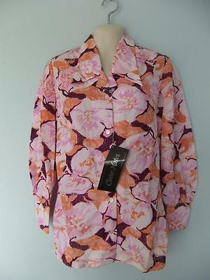 Vintage Floral Blouse Top Mini Dress Flower  Button Front Hippy Nwt 70S