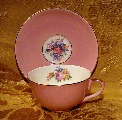 Vintage Leighton England Pink Tea Cup & Saucer Roses Gold Trim