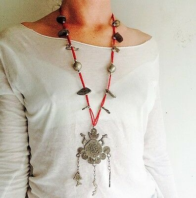 Mayan Chachal Silver and Glass Ceremonial Necklace. Guatemalan.