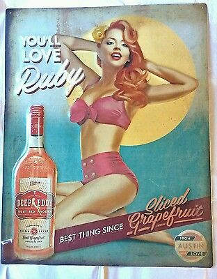 Deep Eddy Ruby Red Vodka Sign! Brand New, 16 by 20 sign!