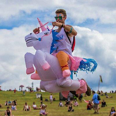 Adult Inflatable Unicorn Costume Horse Rider Halloween Suit Outfit  Fancy Dress