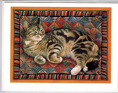New 4 Lesley Anne Ivory Cat Octopussy Log Cabin Quilt Blank Greeting Note Cards