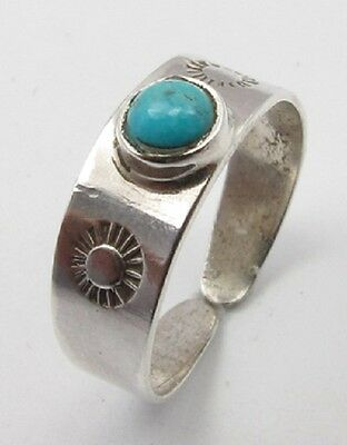 925 Solid Sterling Silver Turquoise Gemstone Adjustable Toe Ring