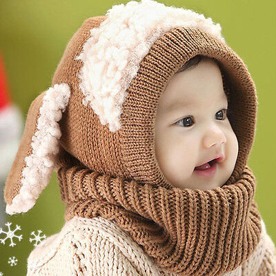 Winter Baby Girl Boy Warm Dog Knitted Crochet Hooded Hat Cap Beanie Scarf LQ