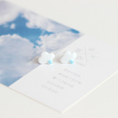 [entertainment] Sky  fresh Mori art handmade ceramic earrings fashion 1Pair