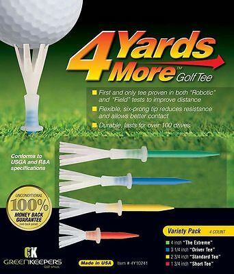4 Yards More - Variety Pack Golf Tees various heights - Improve your distance