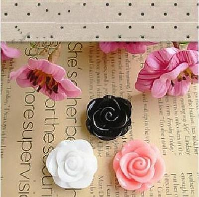 25mm Resin Rose CABOCHONS Turquoise Flat Backed Flowers Decoden Phone Case #B