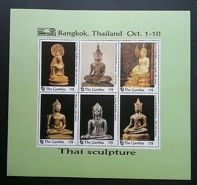 Gambia Thai Buddha Sculpture 1993 Statues Religion (ms) MNH *Thailand '93 Expo
