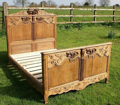 A BEAUTIFUL  LATE 19th CENTURY FRENCH OAK NORMANDY DOUBLE BED WITH BASE