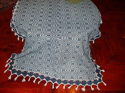 Gorgeous Vintage  HAND WOVEN 19TH tablecloth cotton
