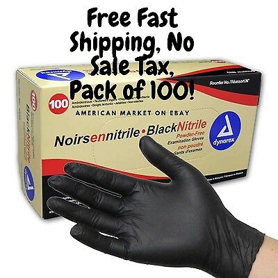 Black Large Gloves Powder Free Latex Rubber Free Heavy Duty Glove Pack of 100