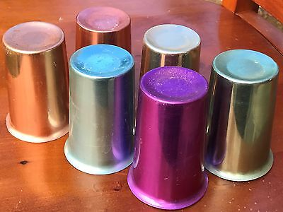 Original Retro Anodised Metal Drinking Picnic Cups Set Of 6 - Colourful