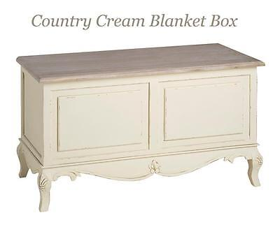 Shabby Chic Blanket Storage Box Wooden Ottoman Cream French Country Trunk Large