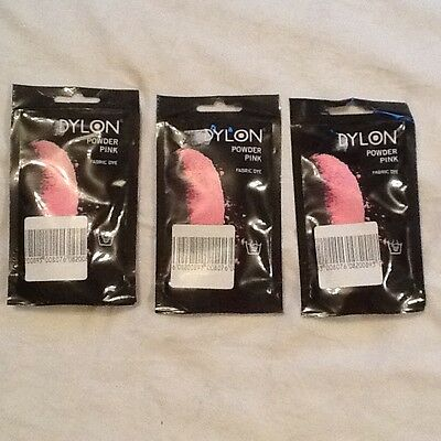 Three 50g Packets Dylon Powder Pink Fabric Dye for Cotton Linen & Viscose