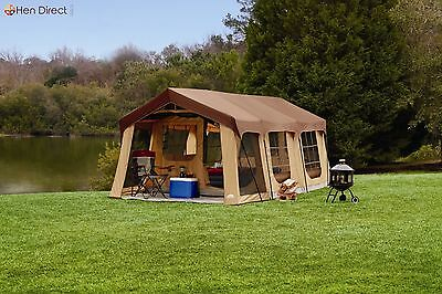 20'x 10' Front Porch Cabin Tent 10 Person Camping Outdoor 2 Room Steel Frame