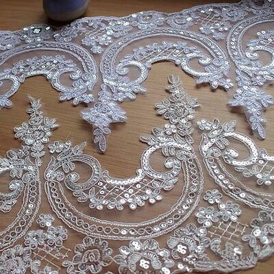 1yd Embroidered Sequins Wedding Dress Brial Lace Trim Applique Sewing Craft DIY