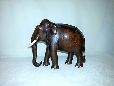 Vintage  Elephant Figurine Hand Carved Wood Mahogany Dark Wood Bone