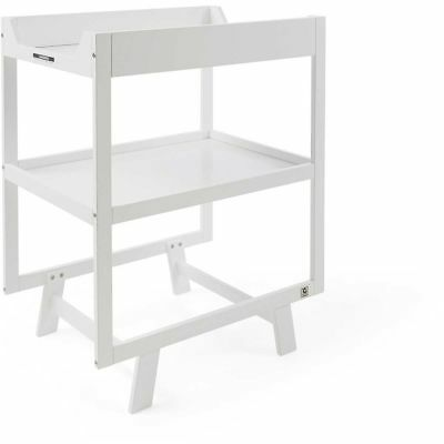 BW01 CHANGE TABLE Timber Wooden Changing  baby changer with wheel 2 tiers white