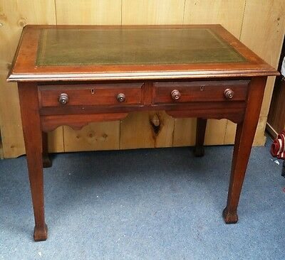Antique Arts & Crafts Oak Two Drawer Writing Table Desk With Leather Top