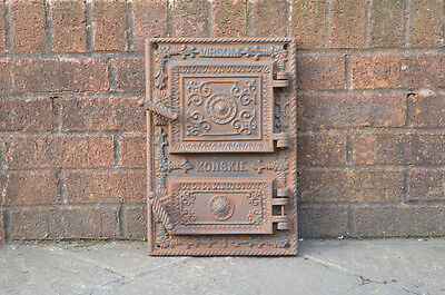 28.5 x 41.3 cm old cast iron fire / bread oven door/doors /flue/clay/range/pizza