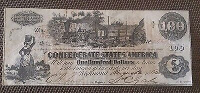 T-39 $100 1862 Confederate CSA PMG train note + with Bank stamp !!