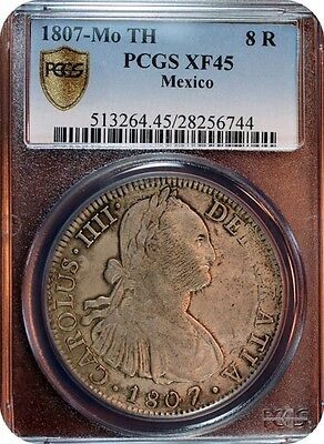 1807-MoTh Mexico Charles IV. Colonial Silver 8 Reales Coin  ** PCGS XF45 **