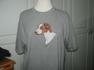 New Brittany Spaniel Head Embroidered T-Shirt Add Name For Free