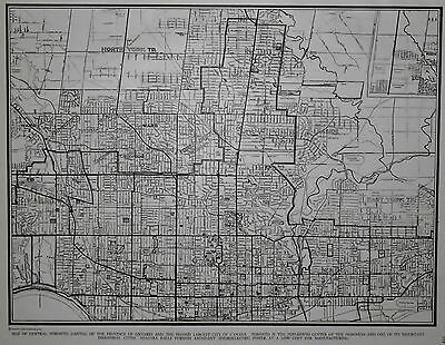 Vintage 1941 OLD WWII Black White City Map Toronto, Ontario, Canada World War II