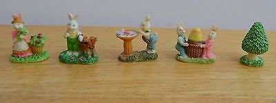 Lot of 5 assorted resin Bunny Figurine Easter Village Accessory